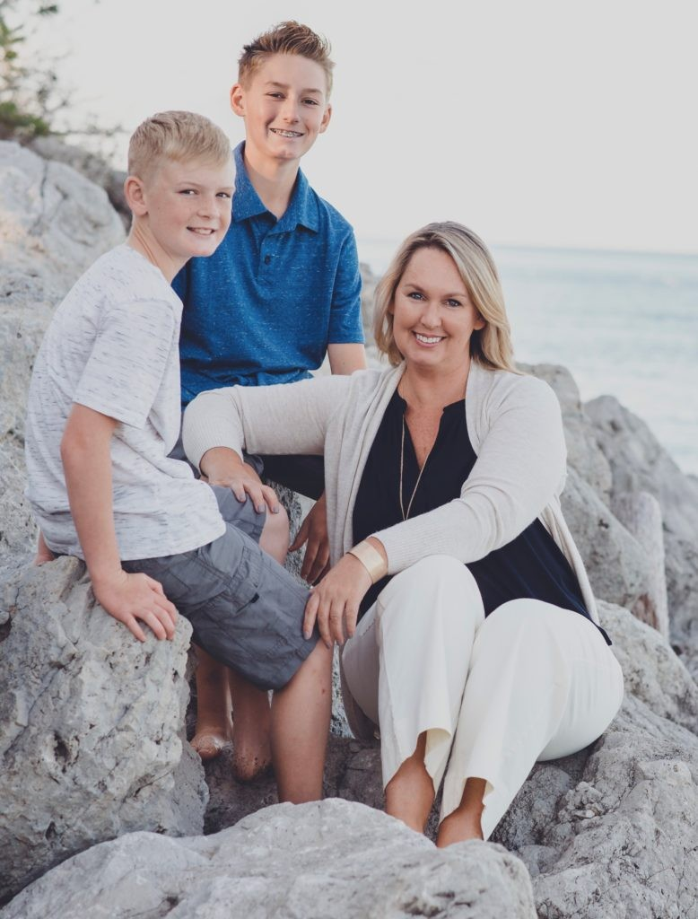 Coach Kelly Clements with her two sons